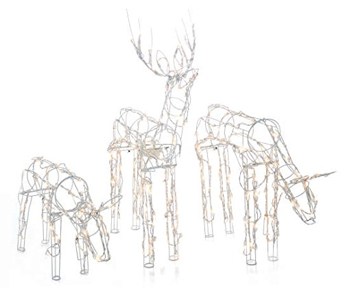 "2-Piece Lighted Animated Holiday Deer Family - 48"" Animated Buck and 42"" Animated Doe - 210 Clear Lights"