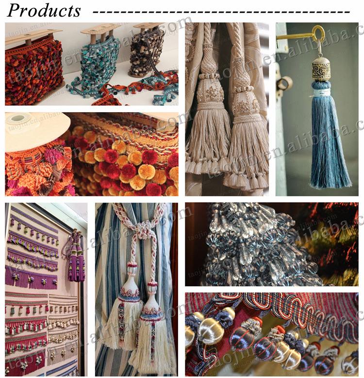 Long Chain Beads And Bullion Curtain Tassel Fringe,Trims For ...