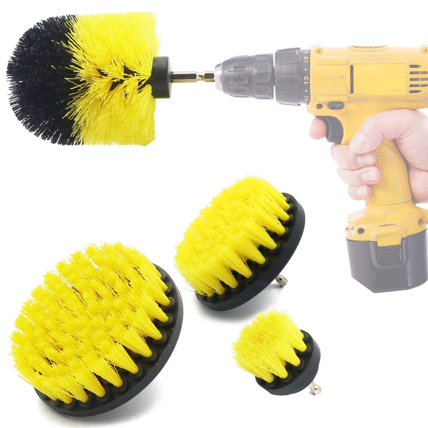 Kitchens,Bathrooms Showers Tubs Boats Power Scrubber 1 Piece Yellow YIJINSHENG 1 Piece Medium and Stiff Brush with Drill Attachment Scrubbing Brushes for Cleaning Car Tires,Carpet