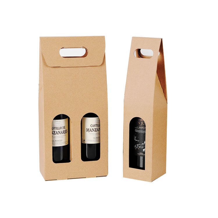 Wholesale 2 pack carton box wine beer carrier box holders
