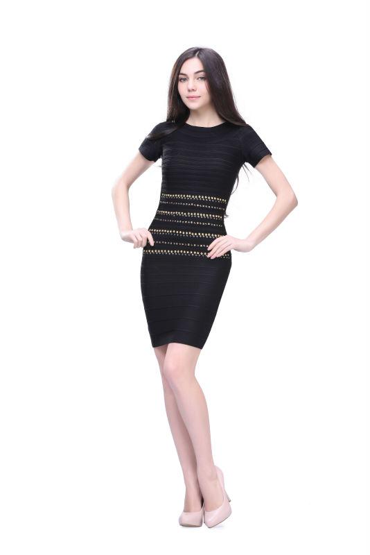 Elegant Black Short Sleeve Sequin Bodycon Marvelous Designer Dress ...