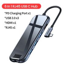 Baseus USB Type C концентратор к HDMI RJ45 Lan Мульти USB 3,0 PD адаптер USB-C концентратор для MacBook Pro Air Dock USBC Type-c концентратор сплиттер Hab(Китай)