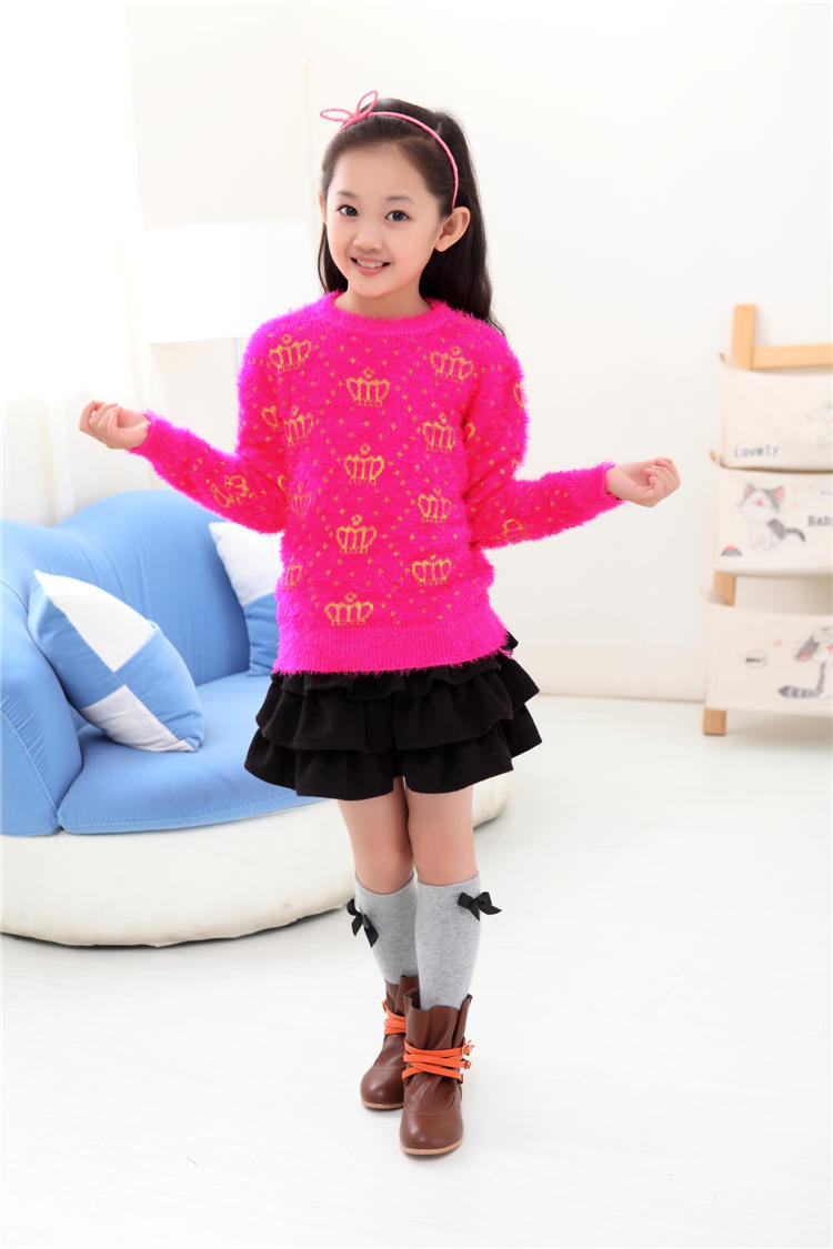 a200747adb7c Buy Brand Cotton Knitted Kids Girls Sweater Casual Style Solid crown ...