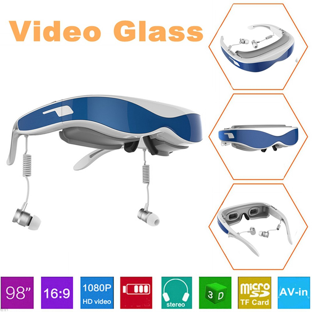 HD Virtual Reality 3D Video Glasses 98 inches Universal Headset for