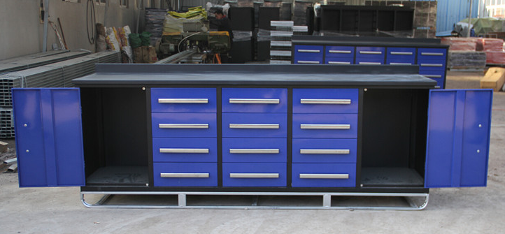 Suihe 10ft Metal Workshop Tool Cabinet Portable Work Bench