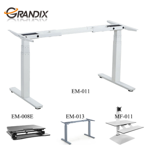Mobile height adjustable office furniture computer workstation,electric 3 stages standing desk for PC/notebook