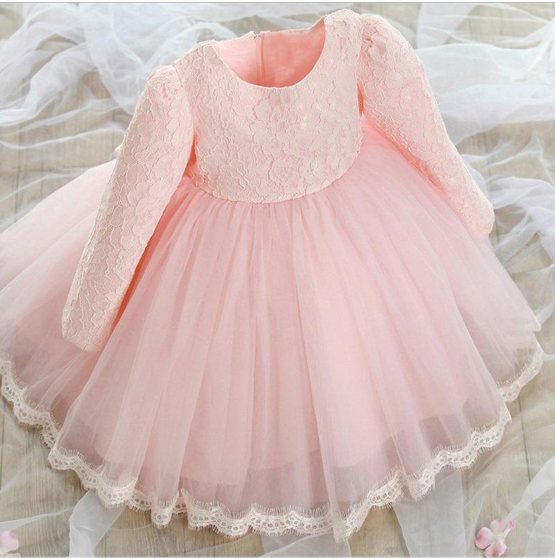 Vestido del bebé del otoño manga larga Rosa blanco vestido infantil ...