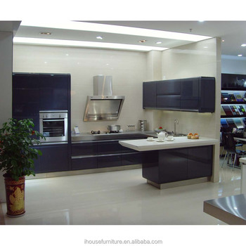 Extremely High Gloss Blue Lacquer Kitchen Cabinets Furniture Guangzhou