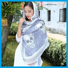 Fashion Custom Digital Printed Skull Scarves Pattern 100% Polyester Scarf