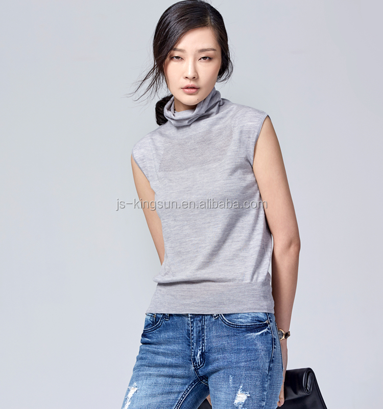 JS-11012 Three Colors In-Stock Turtle-Neck Sleeveless Wool Sweater Design For Women
