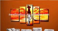 (NO FRAMED)100% handmade discount abstract african canvas art landscape oil painting 5 panel modern sets wall decor