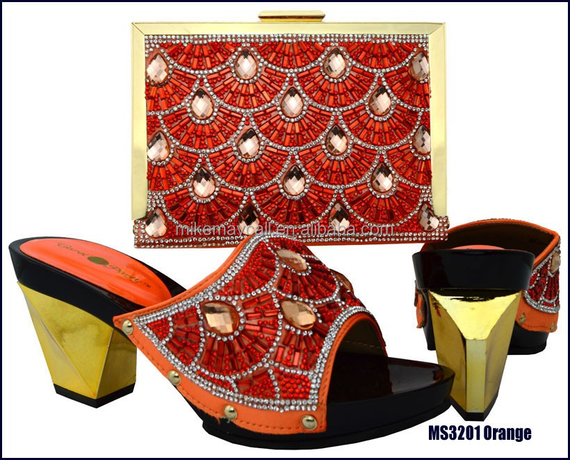 High grade wholesale price african style shoes to matching bags for girls MS3201 <strong>Orange</strong>