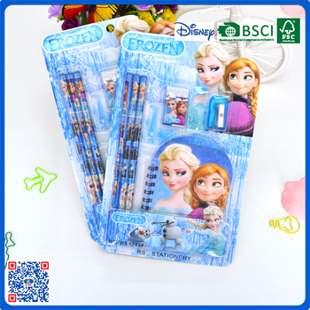 6pcs high quality hotselling stationery set into blister card for kids