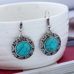 new design retro style turquoise earring antique silver earrings