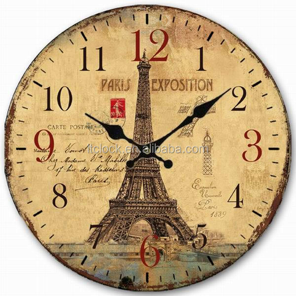 China Wholesale Antique Wooden MDF Wall Clock