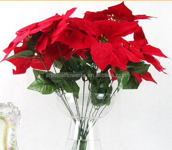 7 Heads Christmas Decorative Flower Artificial Poinsettias - Buy ...