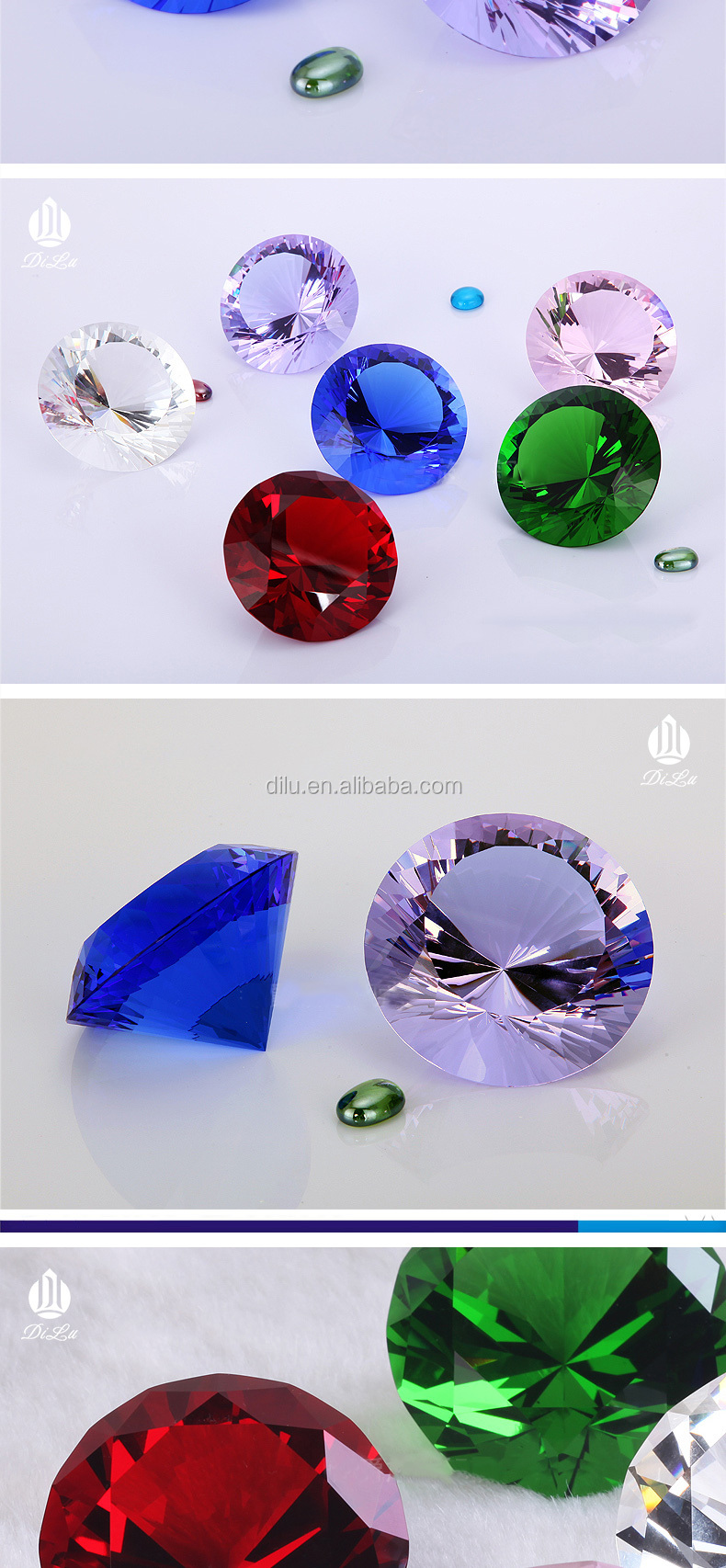 Print Logo FREE SAMPLE 100mm Large K9 crystal glass gem diamond stone /colorful crystal glass diamond for wedding decoration
