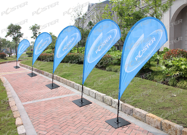 Custom made outdoor decorative flying feather teardrop flag