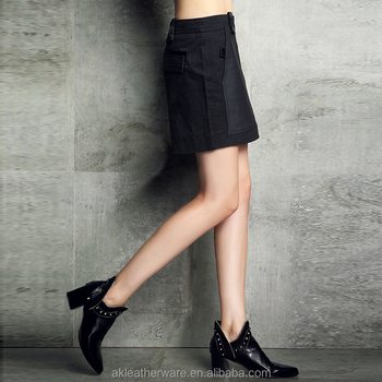 Womens Fashion Black Suede Leather A Line Skirt