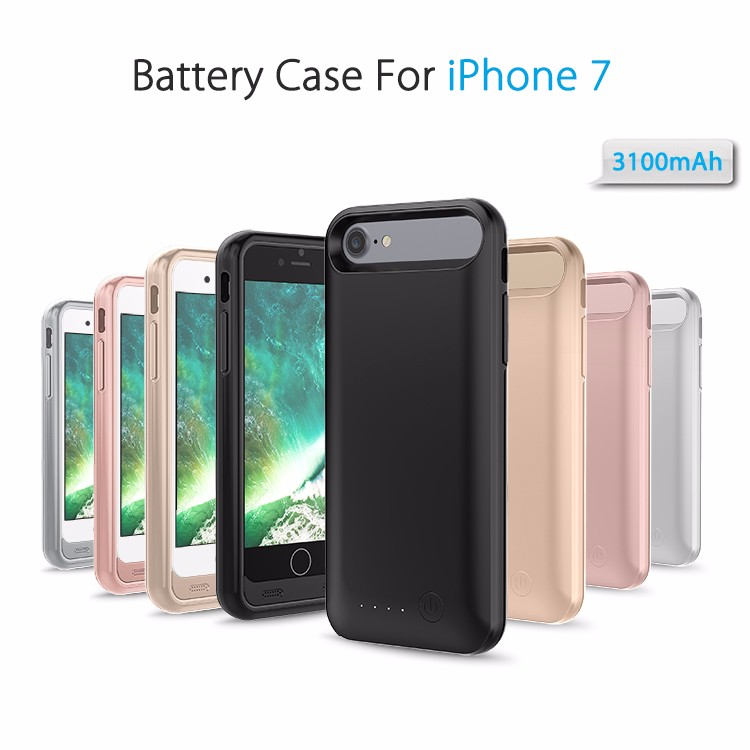 3100mah rechargeable li -polymer battery case for iPhone 7 with detachable frames