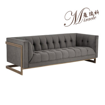Concise Style Retro Copper Frame Grey Velvet Tufted Sofa