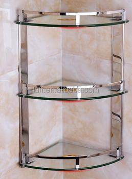 stainless steel rails threelayer clear glass corner shower caddy bathroom baskets space saver