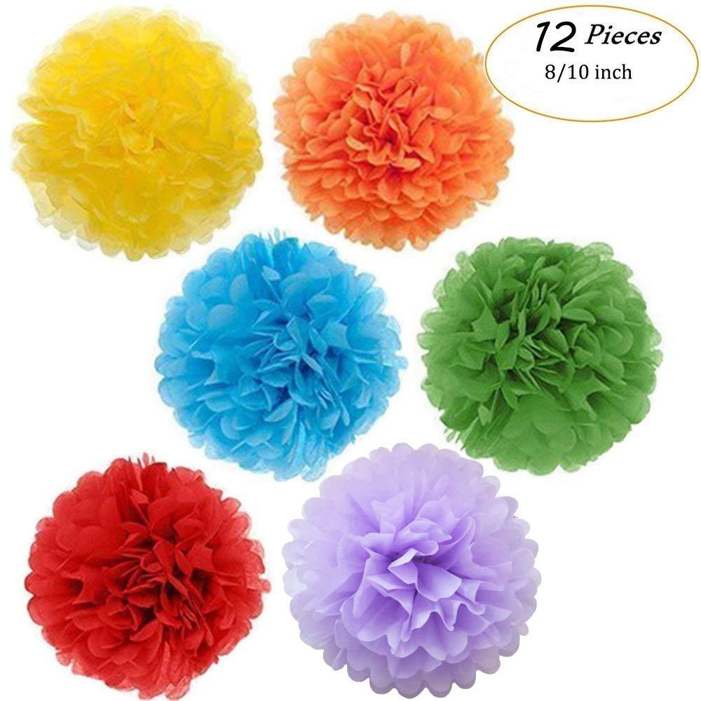 "Tissue Paper Pom Pom Flowers Baby Shower Birthday Wedding Party Decorations 12 pcs Hanging Pom Poms,8"" 10"" Rainbow"