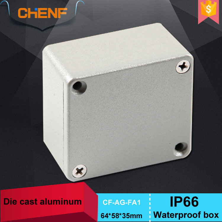 Small anti aging 64*58*35mm custom aluminum box for electronics with hang feet