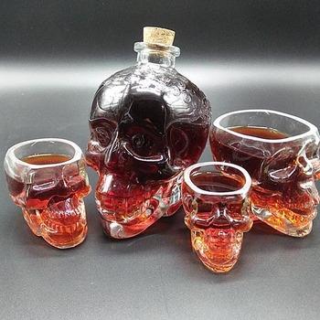 Wholesale 350ml Vodka Skull Glass Bottle Cheap Skull Wine Bottle