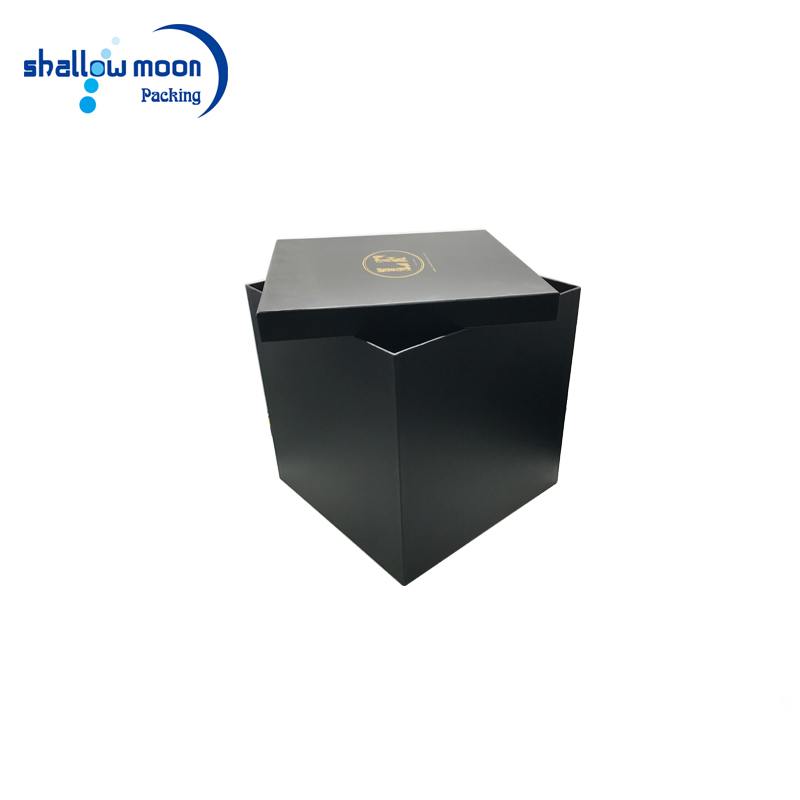 Large Gold Logo Square Shape Flower Gift Box With Lid