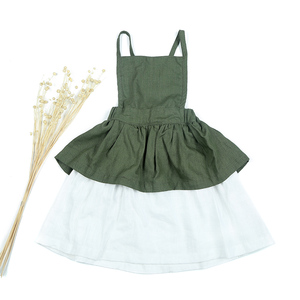 Boutique Children's Clothing Green Color Linen Fabric Girl Dress Hot Selling