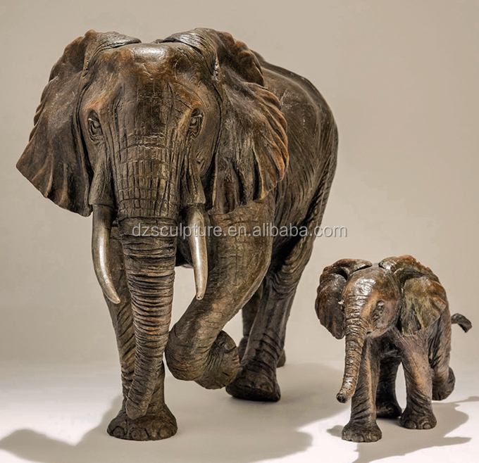 Customized Fancy Fibergl Life Size Mother And Baby Elephant Statue
