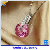 New Design Pink Square 13MM CZ Big Stone Sterling Silver Necklace
