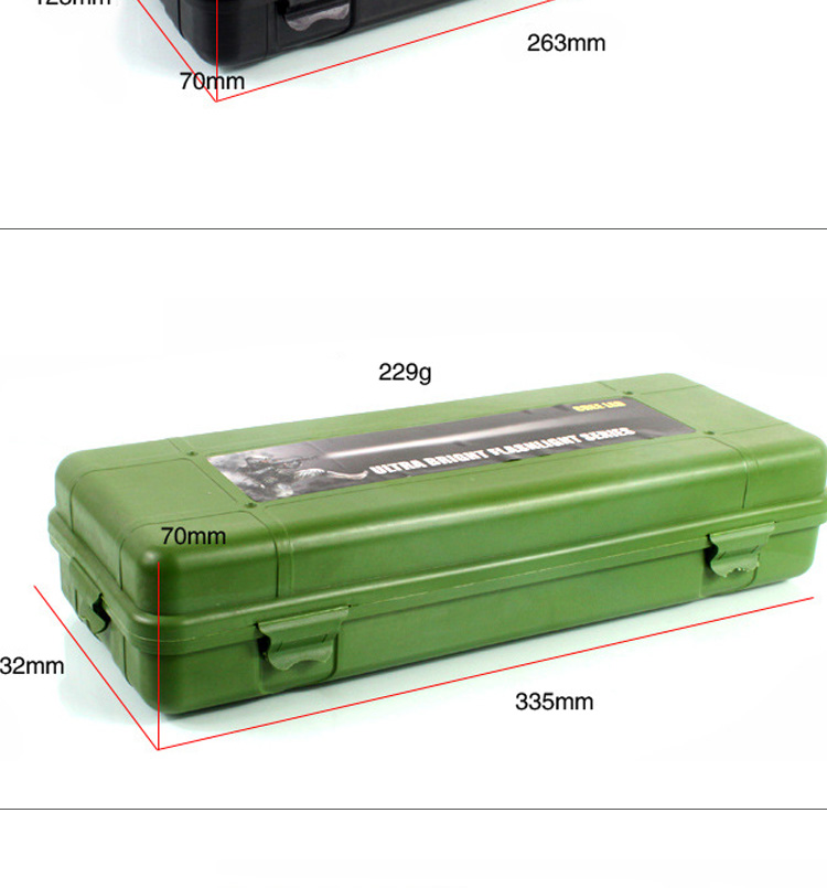 T0001 132*90*37Mm Waterproof Green Plastic Packaging Box,Plastic Tool Box,Plastic Box For Flashlight