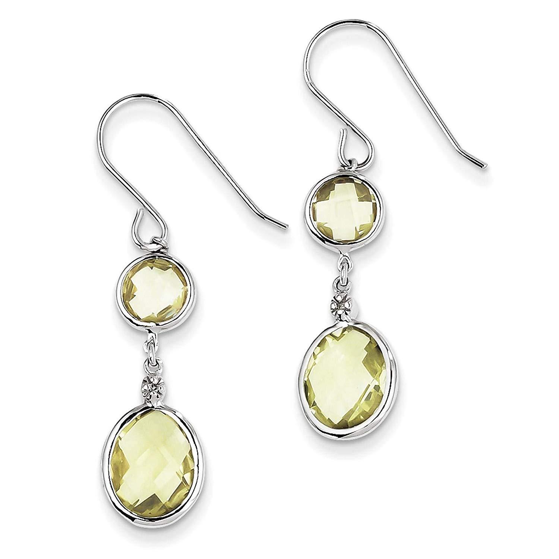 .925 Sterling Silver Rhodium-plated Diamond & Lemon Quartz Dangle Earrings