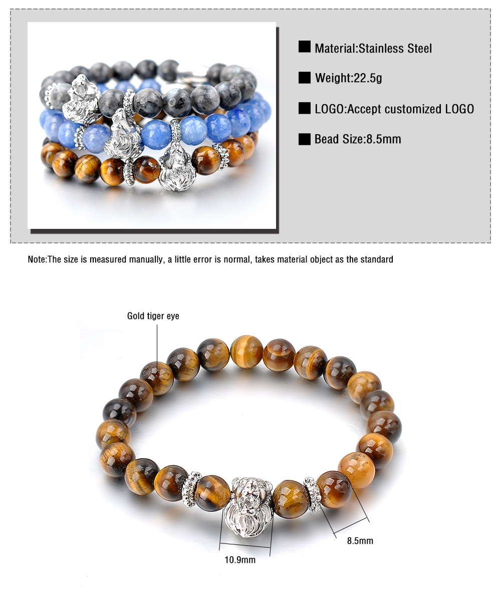 Wholesale Men Stone Design Gold Lion Head Bangle Bracelet