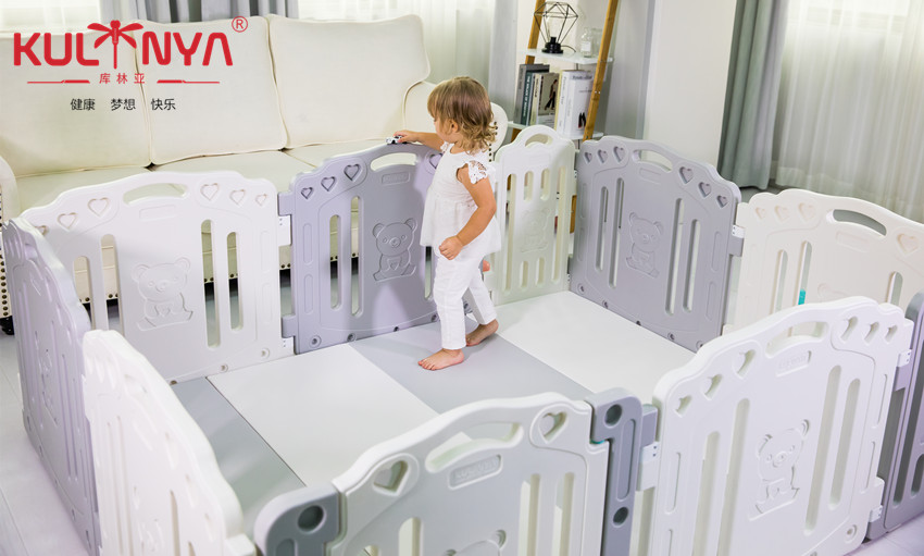 Baby's native HDPE playpen high quality and eco-friendly white grey safety fence for baby
