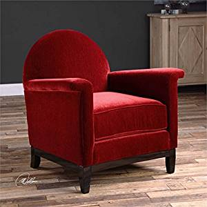 Get Quotations · Ambient Luxuriously Plush, Deep Cherry Red Chenille Lounge  Chair, With Flat Arms, Rounded
