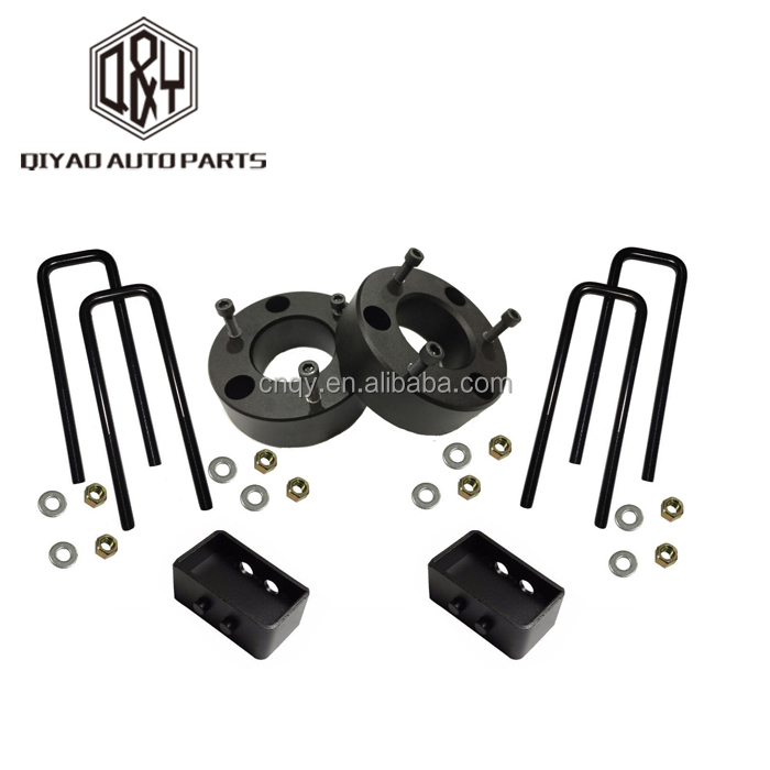 "3"" Front 2"" Rear Billet aluninum Lift Leveling lift Kit with Black Spacers U-Bolts and lift blocks for Ford 04-14 F150"