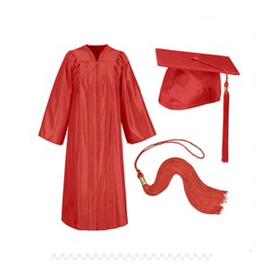 Customized Graduation Gown Disposable Red And Black Cap And Gown