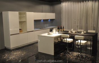 2015 New High Glossy Modern White Aluminum Anti Scratch Kitchen Cupboards  Without Handles Kitchen Cabinet Simple