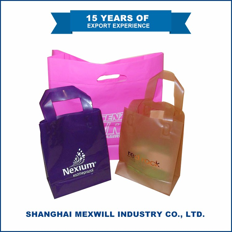 High Quality Useful flexi loop handle biodegradable plastic bag,plastic carry bag design