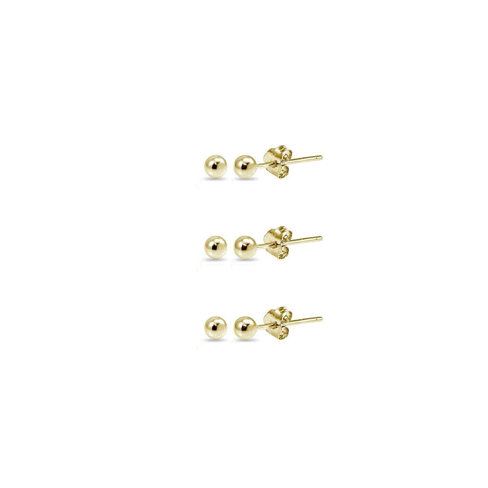 14K Gold 3mm Polished Tiny Ball Bead Unisex Stud Earrings, Set of 3 Pairs