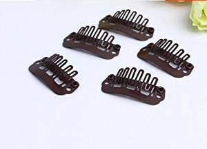 Lisahairfactory Brown Snap Clips 32pcs Medium Size U-shape Metal Clips for Hair Extensions DIY ,Wig Clips ,Hair Clips