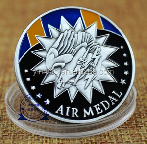 Antique Silver Plated Challenge Coin,US Military AIR MEDAL Metal Coins