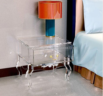 2017508102 Clear Acrylic Nightstand With Drawer Lucite Bedside Table