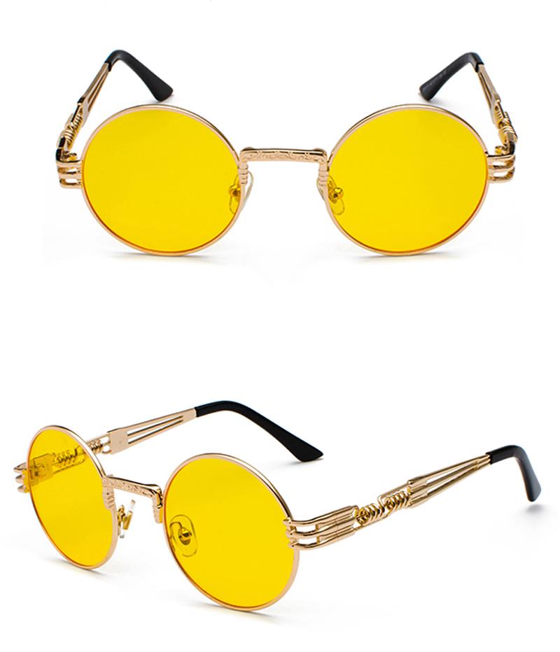 Coucou vintage rétro gothique steampunk miroir lunettes de soleil or et noir lunettes de soleil vintage ronde cercle hommes UV lunettes de soleil