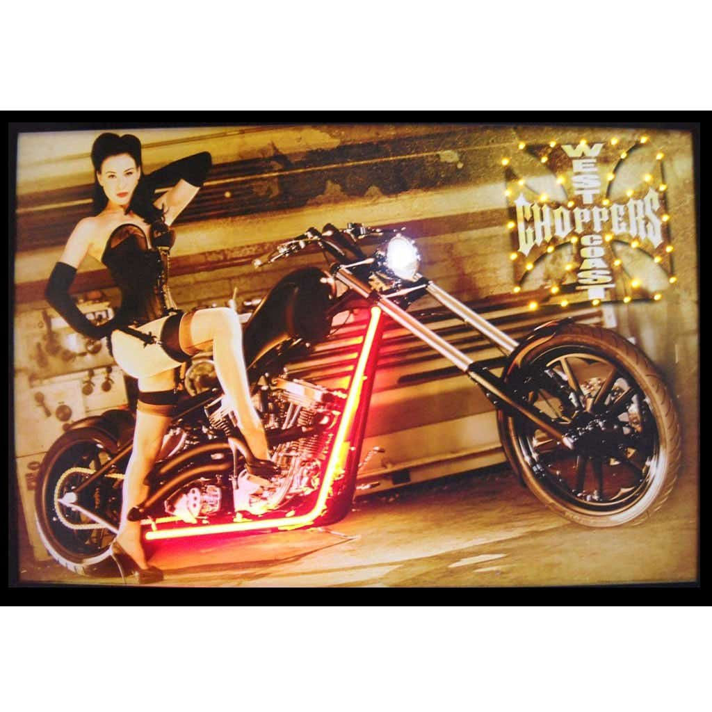 Neonetics West Coast Choppers Girl Neon LED Lighted Framed Photographic Print