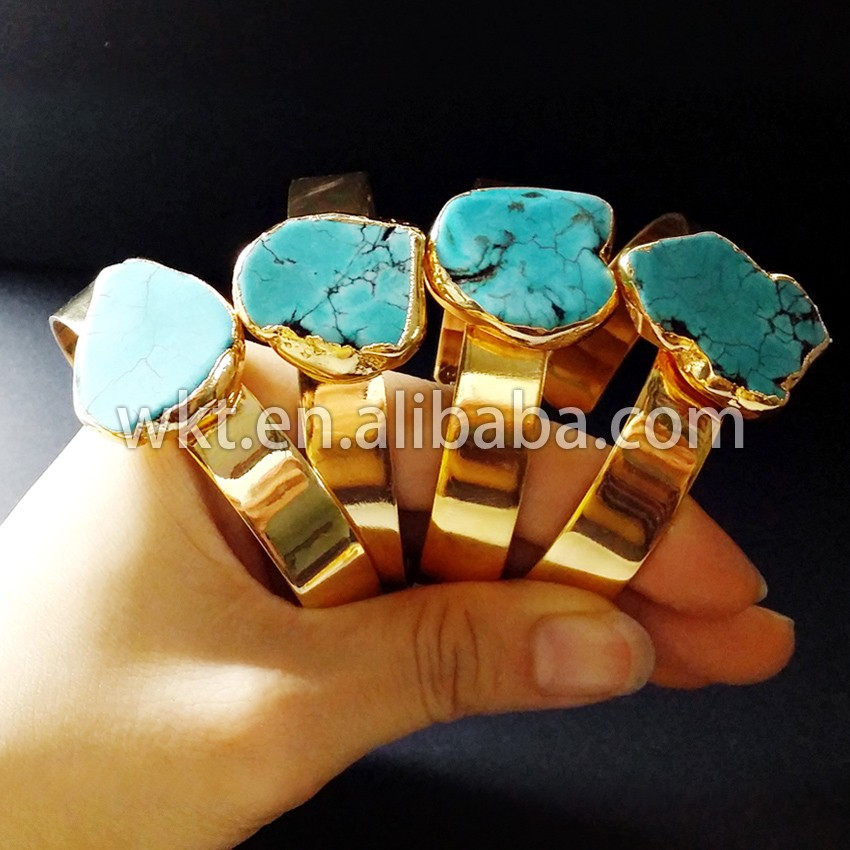Exclusive!! Natural single turquoise bangle, 24k real gold plated fashion turquoise bangle WT-B169