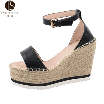 e7af9f60b76 2017 women Customized Black wedge open toe espadrilles sandals for lady